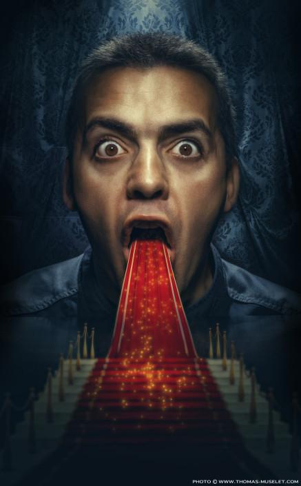 un photomontage de cuisinier originale un cuisinier vomit un tapis rouge