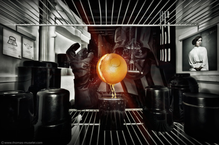 photo originale dans un frigo par thomas muselet avec stars wars