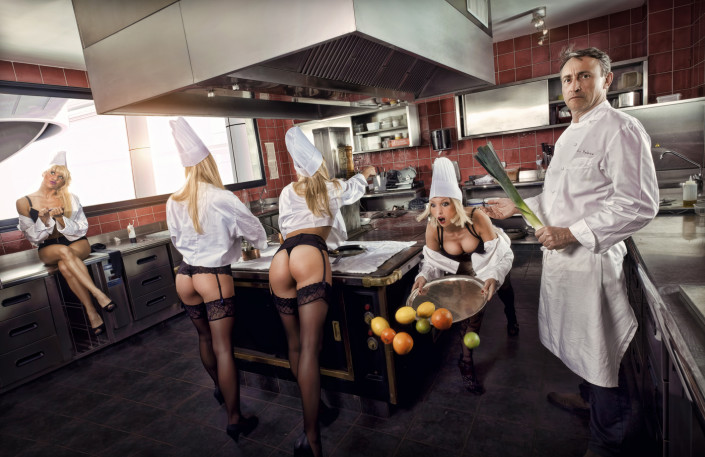 Photo de cuisiner avec des femmes nues
