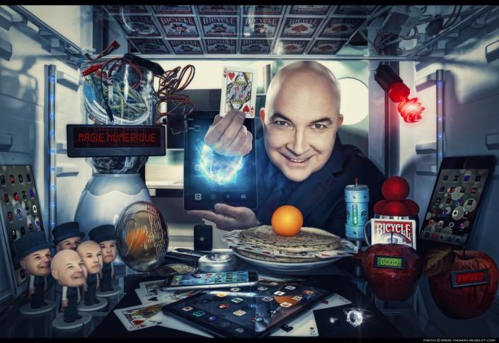 Magiciens avec ipad dans un frigo