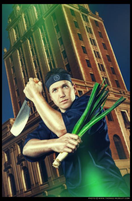 un cuisiner ninja dans les rues de sacramento en Californie