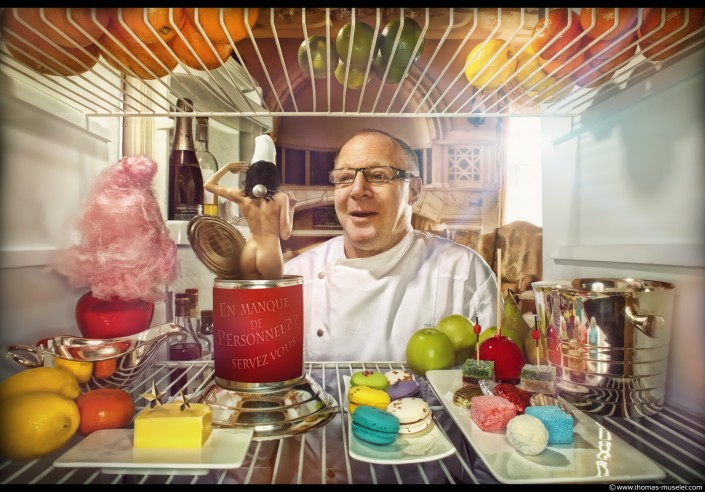 Marc Meurin dans un frigo