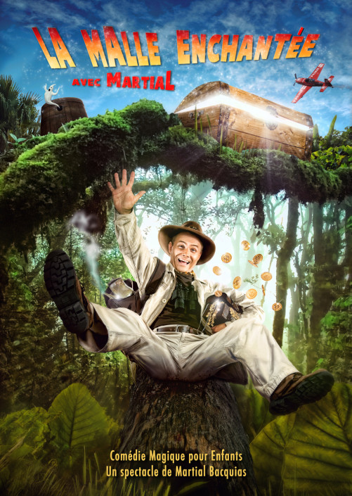 un magicien photographié par thomas muselet qui glisse sur un tronc d'arbre