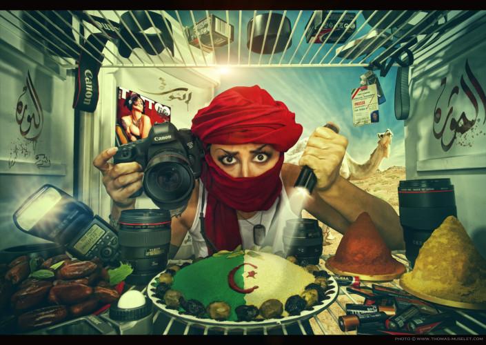 une photographe en Algérie dans un frigo