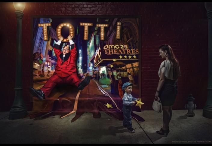 Totti avec sa famille dans une ruelle