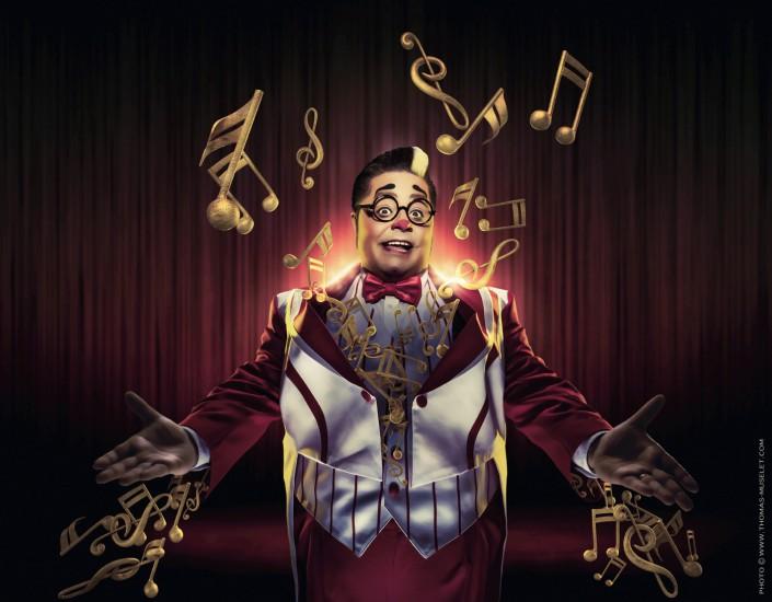 un clown avec des notes de musiques en 3D