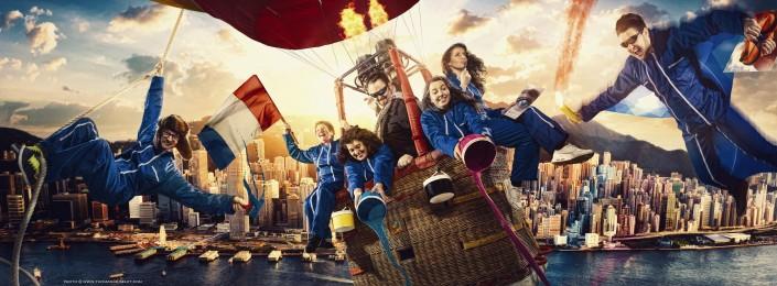 photo magique de personnes dans une montgolfière.