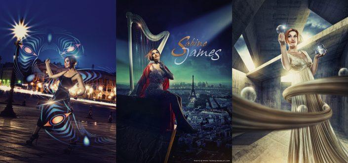 photo de l'artiste Sabine James jongleuse, harpiste, light