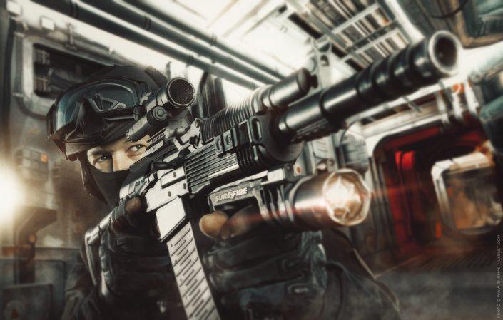 Photo d'un équipier du raid avec un calibre 12