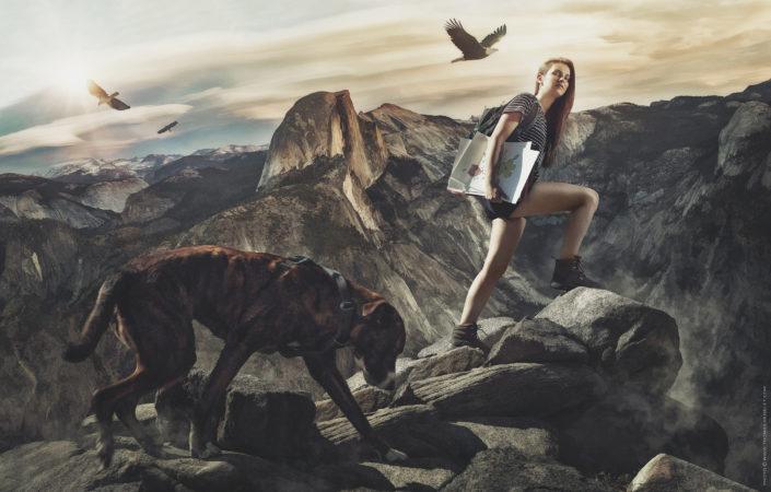 photo d'une belle jeune femme sur les hauteur de Yosemite en Californie
